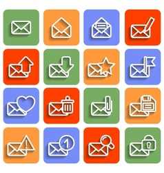 Flat Envelope Icons With Shadow vector image