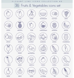 fruits and vegetables outline icon set vector image vector image