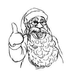 hand cartoon santa claus vector image vector image