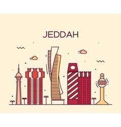 Jeddah skyline linear style vector image vector image