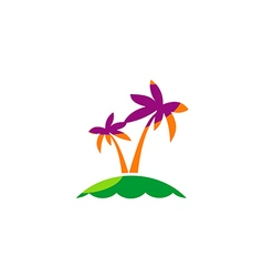 palm tree tropic beach travel logo vector image