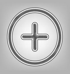 Positive symbol plus sign pencil sketch vector
