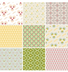 Seamless pattern with floral fabric texture vector