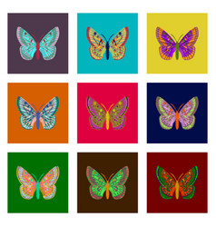 Set of flat shading style icon butterfly vector
