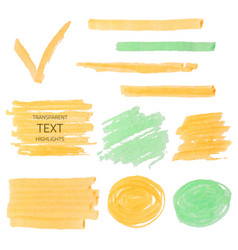 Set of transparent highlighter marks orange and vector