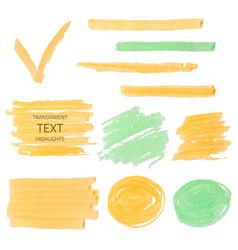 set of transparent highlighter marks orange and vector image vector image