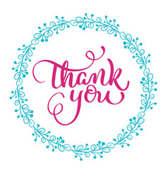 thank you text with round frame on white vector image