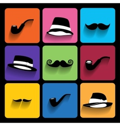 Trendy Icons With Long Shadow vector image vector image