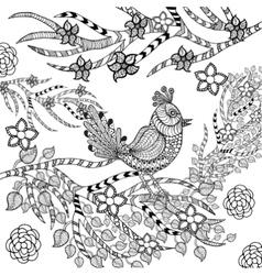 Tropical bird in flower garden vector