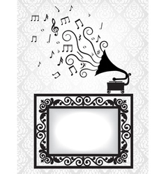 Music card with gramophon vector