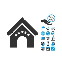 Hotel building flat icon with bonus vector