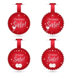 Set of four festive christmas coupon tags red vector