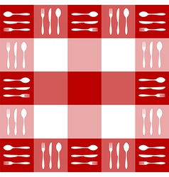 Red tablecloth texture with cutlery pattern vector