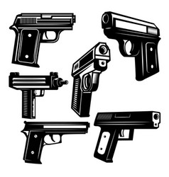 set of handguns isolated on white background vector image