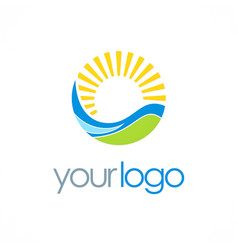 sun ecology nature logo vector image