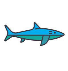 shark flat line  concept vector image