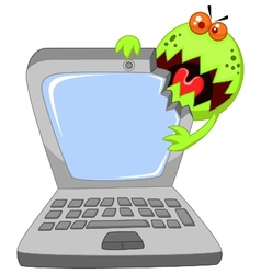 Cartoon laptop attacking by virus vector