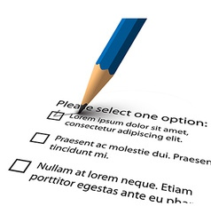 Pencil filling up the questionnaire on white paper vector