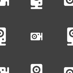 Web cam icon sign seamless pattern on a gray vector