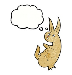 Cue cartoon rabbit with thought bubble vector