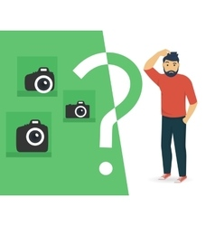 Confused man is choosing a camera vector