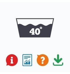 Wash icon machine washable at 40 degrees symbol vector