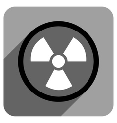 Radiation danger flat square icon with long shadow vector