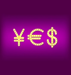 Yes in form money symbol 3d vintage vector