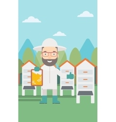 Bee-keeper at apiary vector