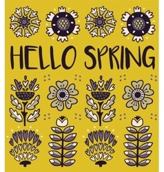 Hello spring greeting card with decorative flowers vector