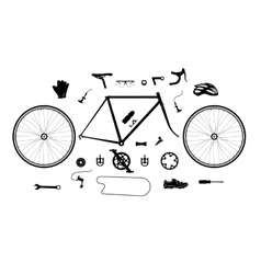 Road bicycle parts and accessories silhouette set vector image