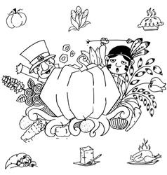 Doodle art thanksgiving pumpkins vector