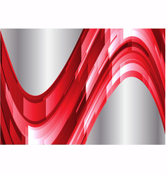 Abstract red and silver geometric waves background vector