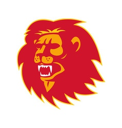 Angry lion head roaring vector