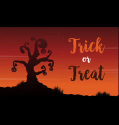 Background of halloween with tree scenery vector