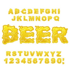 Beer abc alcoholic alphabet drink letters yellow vector