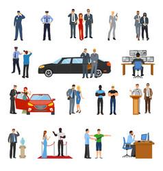bodyguard icons set vector image