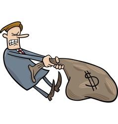 businessman draging sack of dollars vector image