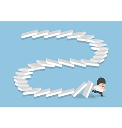 Businessman escaping from falling dominos vector