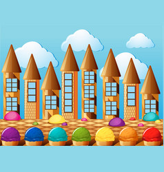 Candy towers and icecream with different flavors vector