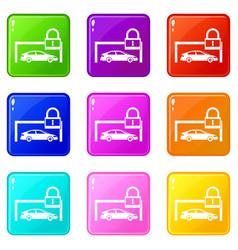 Car and padlock icons 9 set vector