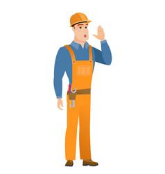 Caucasian builder calling for help vector