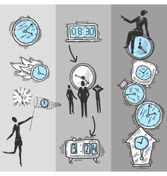 Clock Banners Set vector image vector image