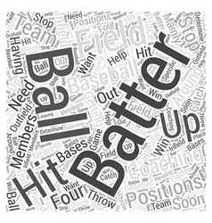 Coaching baseball word cloud concept vector