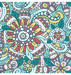 Colorful abstract seamless pattern with flowers vector image