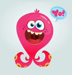 cute alien octopus monster cartoon vector image