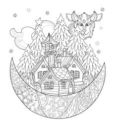Cute christmas fairy tale village doodle vector