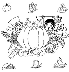 Doodle art thanksgiving pumpkins vector