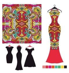 Dress silhouette with tribal seamless pattern vector image vector image