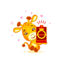 emoji marry me character cartoon giraffe box with vector image